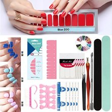 BlueZOO Manicure Tools Set Including 4PCS Solid Color Nail StickersFinger Separator Nail Cutter Pusher Tips Polishing File Kits etc