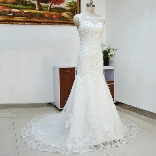 Sexy Lace Mermaid Style Wedding Dresses fish Tail Plus Size Vestidos Bridal Wedding dress Vestido de Novia Free Shipping