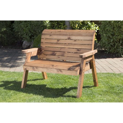 Hand Made Traditional 2 Seater Chunky Rustic Wooden Garden Bench Furniture On