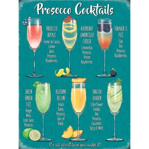 PROSECCO COCKTAILS VINTAGE STYLE METAL WALL SIGN