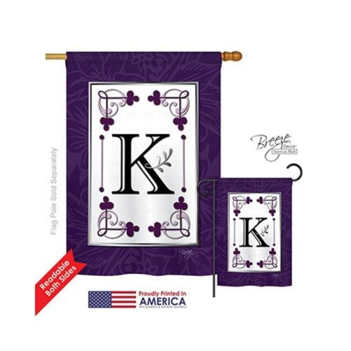 Breeze Decor 30011 Classic K Monogram 2-Sided Vertical Impression House Flag - 28 x 40 in.