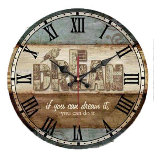 "12"" European Retro Wall Clock Classical Decor Silence Hanging Clock, B"