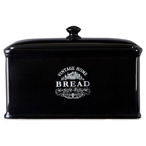 Vintage Home Bread Bin Black Ceramic Elegant Detail