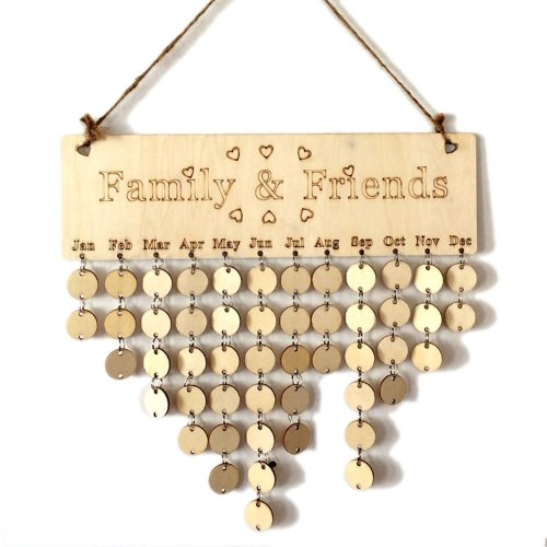 YuQi Family Friends Wooden Calendar Board Gift For Home Reminder DIY Plaque (Family,Friends + Round Discs)