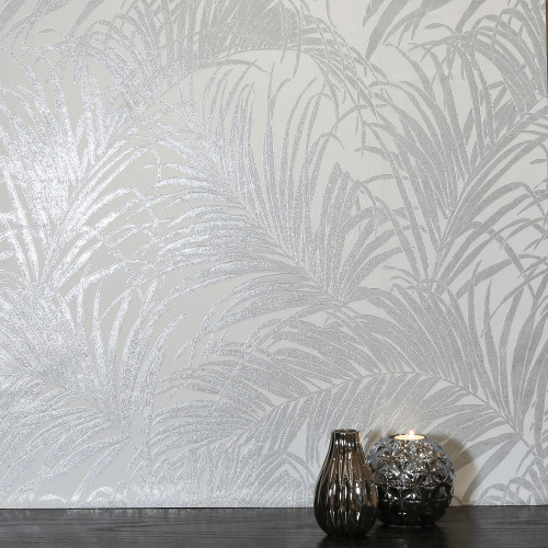 Arthouse Palm Pattern Metallic Shimmer Foil Leaf Effect Luxury Wallpaper 903200