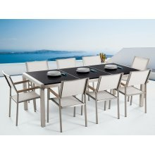 Garden set - Dining set 220cm - Stainless Steel - Granite top -  chairs - GROSSETO