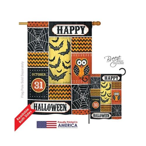 Breeze Decor 12060 Halloween Halloween Happy 2-Sided Vertical Impression House Flag - 28 x 40 in.