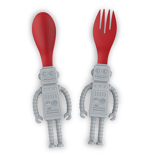 Fred Yumbots Kids Utensil Set, Silicone, Grey, Set of 2