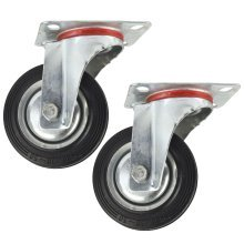 "4"" (100mm) Rubber Swivel Castor Wheels Trolley Furniture Caster (2 Pack) CST04"