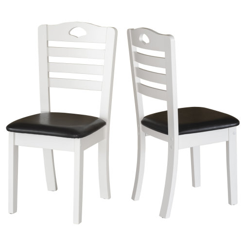 HOMCOM Dining Chairs Set of 2 PU Leather Padded Seat Modern Style Solid Wood Kitchen Furniture (White Frame & Black Seat)