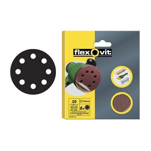 Flexovit 63642526501 Hook & Loop Sanding Discs 115mm Assorted Pack of 6