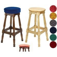 Tamara Wood Bar Stool - Padded / Unpadded Green Fabric Unpadded Polished Wood Light Oak