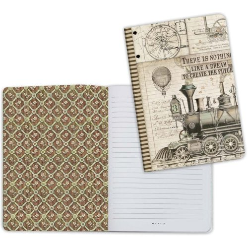 Stamperia Lined Notebook A5-Train, Voyages Fantastiques