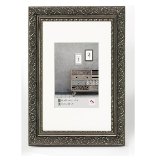 walther design CR050D Barock wooden picture frame, 15.75 x 19.75 inch (40 x 50 cm), anthracite