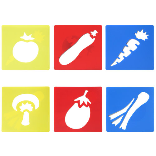 6PC Assorted Vegetable Drawing Stencil Templates for Scrapbooking Card Making TRIXES