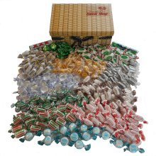 The Little Sweet Shop Mint Sweets Hamper in a Wicker Effect Box Great for Parties & Weddings and Birthdays