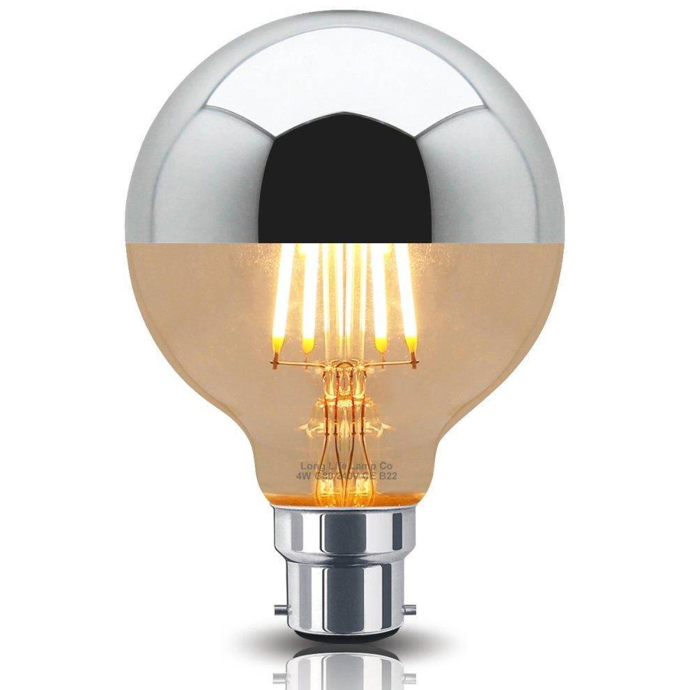4w LED Crown Silver Light Bulb Mirror Top B22 Warm White